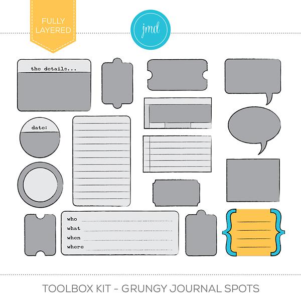 Toolbox Kit - Grungy Journal Spots Digital Art - Digital Scrapbooking Kits