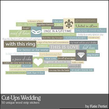 Cut Ups Wedding Digital Art - Digital Scrapbooking Kits