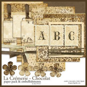 La Cremerie Chocolat Kit Digital Art - Digital Scrapbooking Kits