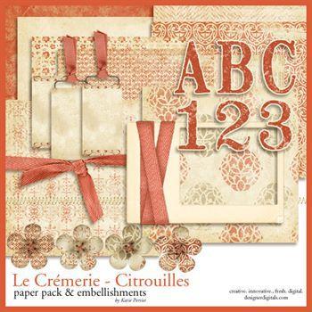 La Cremerie Citrouilles Kit Digital Art - Digital Scrapbooking Kits