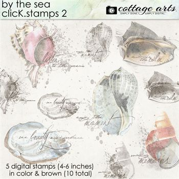 By The Sea Click.stamps 2 Digital Art - Digital Scrapbooking Kits