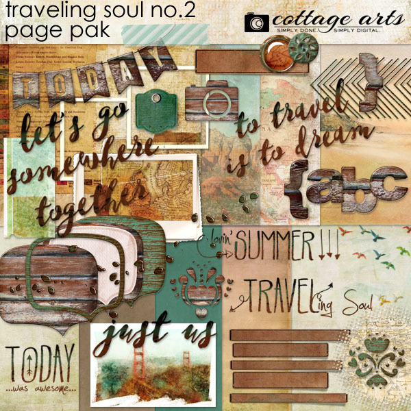 Traveling Soul No. 2 Page Pak Digital Art - Digital Scrapbooking Kits