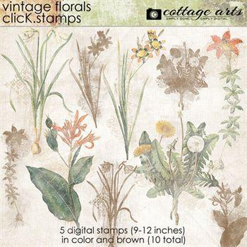 Vintage Florals Click.stamps Digital Art - Digital Scrapbooking Kits
