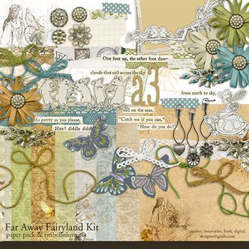 Far Away Fairyland Kit Digital Art - Digital Scrapbooking Kits