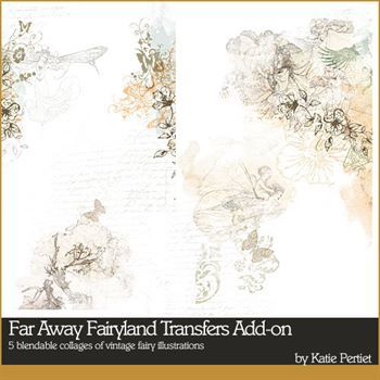 Far Away Fairyland Transfers Add-on Digital Art - Digital Scrapbooking Kits