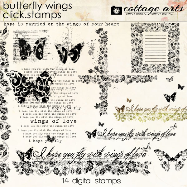 Butterfly Wings Click.stamps Digital Art - Digital Scrapbooking Kits