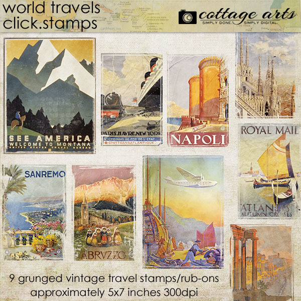 World Travels Click.stamps Digital Art - Digital Scrapbooking Kits