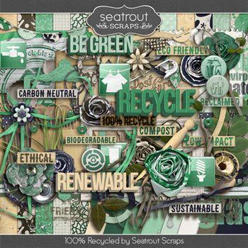 100% Recycled Digital Art - Digital Scrapbooking Kits