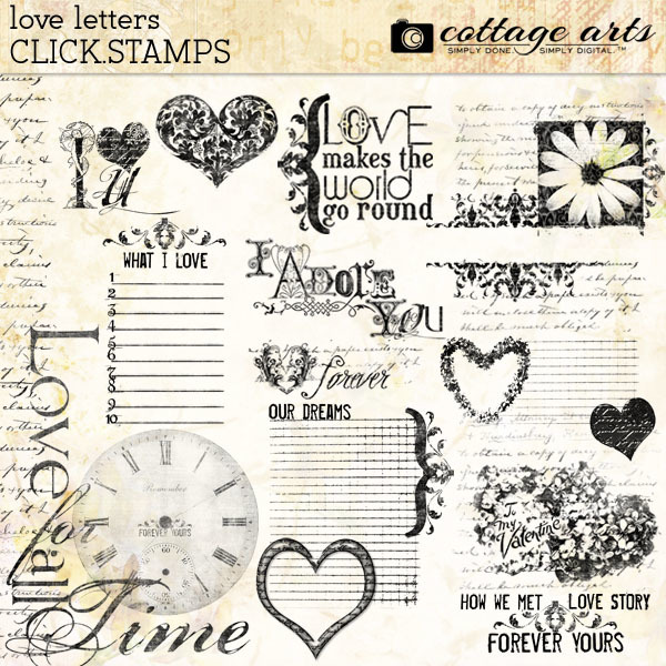 Love Letters Click.stamps Digital Art - Digital Scrapbooking Kits