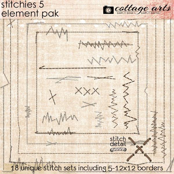 Stitchies 5 Element Pak Digital Art - Digital Scrapbooking Kits