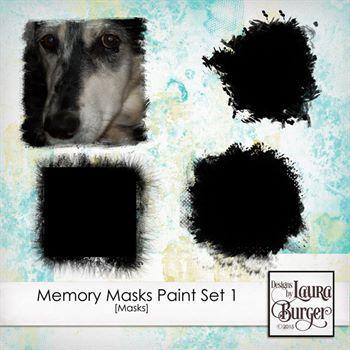 Memory Masks Painted Set 1 Digital Art - Digital Scrapbooking Kits