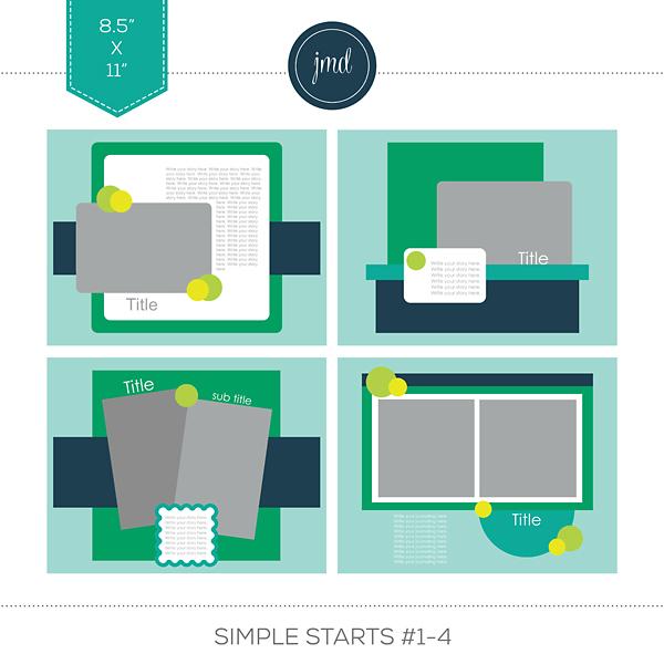 Simple Starts #1-4 (11x8.5) Digital Art - Digital Scrapbooking Kits