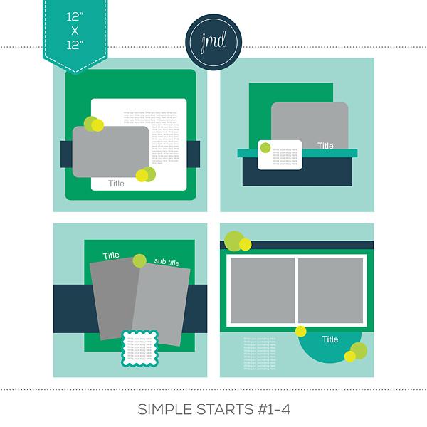 Simple Starts #1-4 (12x12) Digital Art - Digital Scrapbooking Kits