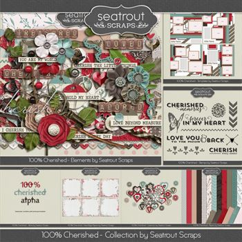 100% Cherished Bundle Digital Art - Digital Scrapbooking Kits