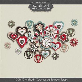 100% Cherished Ceramics Digital Art - Digital Scrapbooking Kits