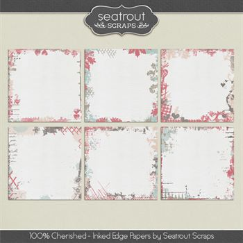 100% Cherished Ink Edged Papers Digital Art - Digital Scrapbooking Kits