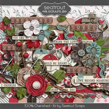 100% Cherished Kit Digital Art - Digital Scrapbooking Kits