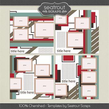 100% Cherished Templates Digital Art - Digital Scrapbooking Kits