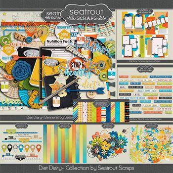 Diet Diary Bundle Digital Art - Digital Scrapbooking Kits