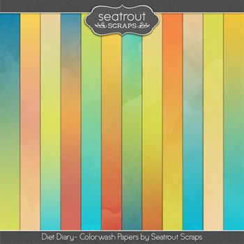 Diet Diary Colorwash Papers Digital Art - Digital Scrapbooking Kits