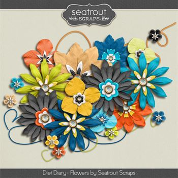 Diet Diary Flowers Digital Art - Digital Scrapbooking Kits