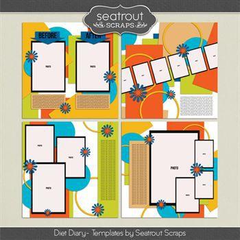 Diet Diary Templates Digital Art - Digital Scrapbooking Kits