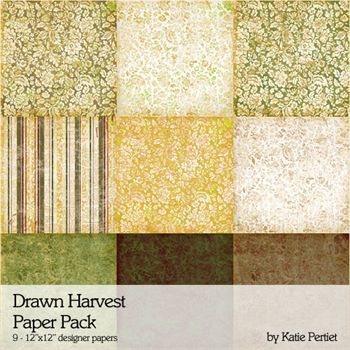 Drawn Harvest Paper Pack Digital Art - Digital Scrapbooking Kits