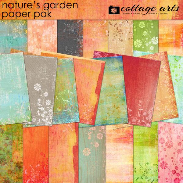 Nature's Garden Paper Pak Digital Art - Digital Scrapbooking Kits