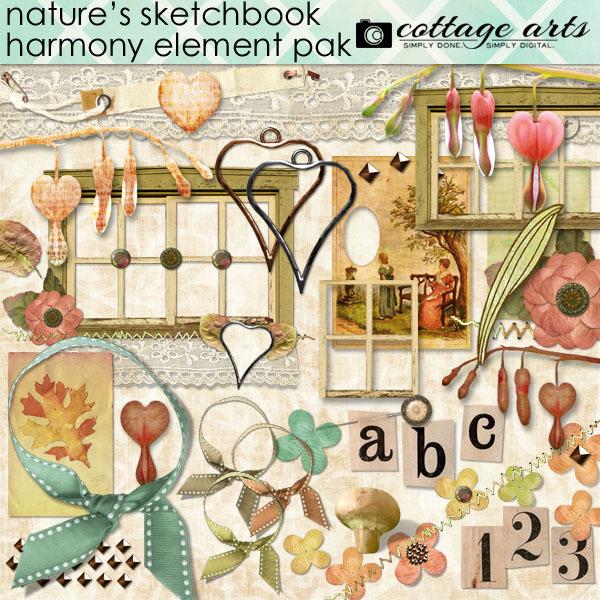 Nature's Sketchbook - Harmony Element Pak Digital Art - Digital Scrapbooking Kits