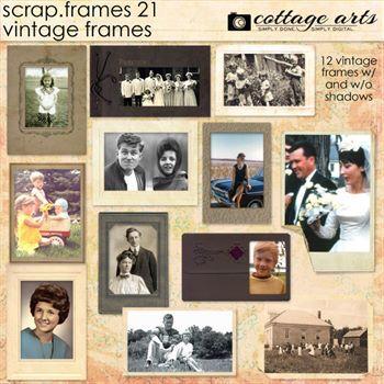 Scrap.frames 21 - Vintage Frames Digital Art - Digital Scrapbooking Kits