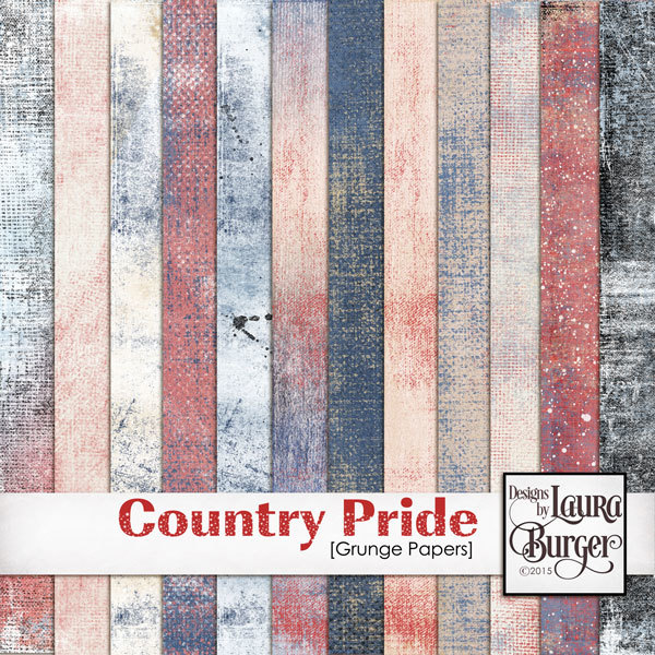 Country Pride Grunge Papers Digital Art - Digital Scrapbooking Kits