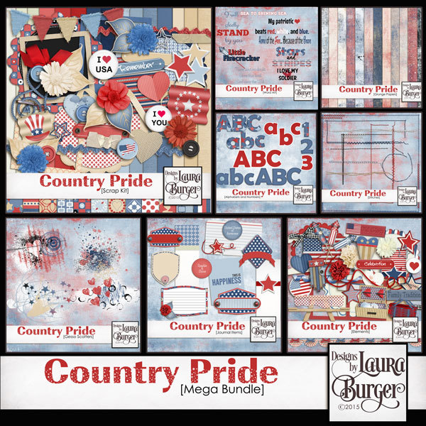 Country Pride Mega Bundle Digital Art - Digital Scrapbooking Kits
