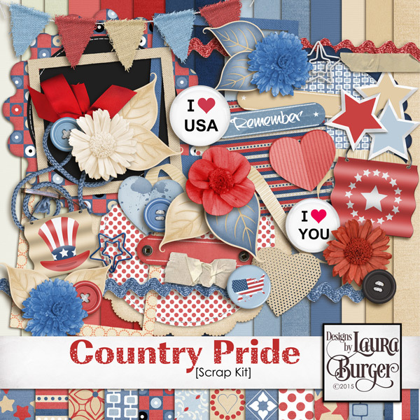 Country Pride Scrap Kit Digital Art - Digital Scrapbooking Kits