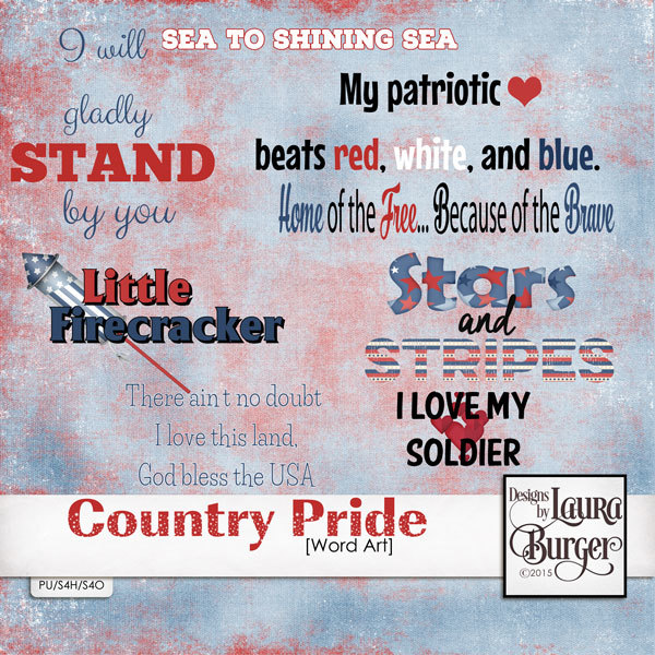 Country Pride Word Arts Digital Art - Digital Scrapbooking Kits