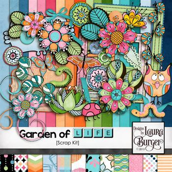 Garden Of Life Scrap Kit Digital Art - Digital Scrapbooking Kits