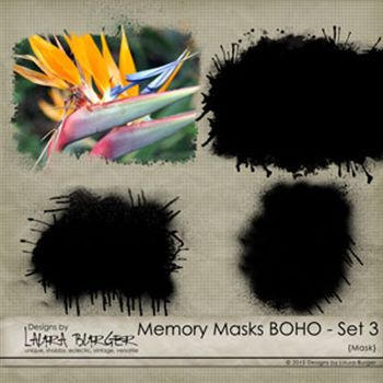 Memory Mask Boho Set 3 Digital Art - Digital Scrapbooking Kits