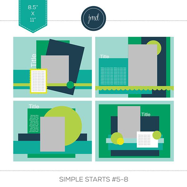 Simple Starts #5-8 (11x8.5) Digital Art - Digital Scrapbooking Kits