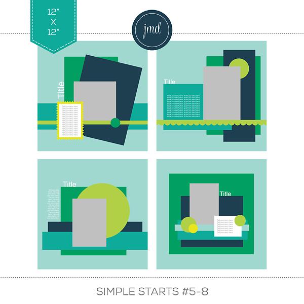 Simple Starts #5-8 (12x12) Digital Art - Digital Scrapbooking Kits