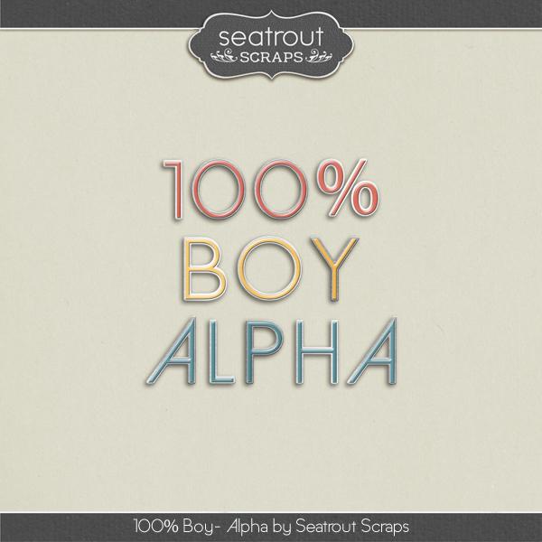 100% Boy Alpha Digital Art - Digital Scrapbooking Kits