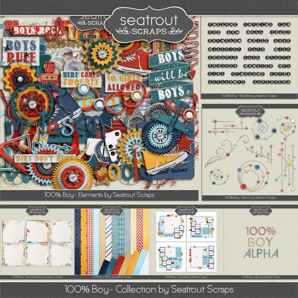 100% Boy Bundle Digital Art - Digital Scrapbooking Kits