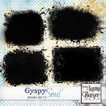 Gyspy Soul Masks Set 1 Digital Art - Digital Scrapbooking Kits