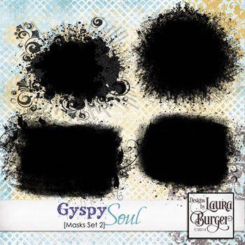 Gyspy Soul Masks Set 2 Digital Art - Digital Scrapbooking Kits