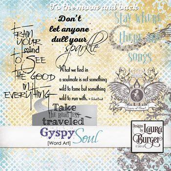 Gyspy Soul Word Art Digital Art - Digital Scrapbooking Kits