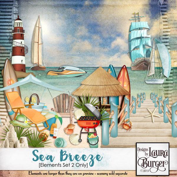 Sea Breeze Elements Set 2 Digital Art - Digital Scrapbooking Kits