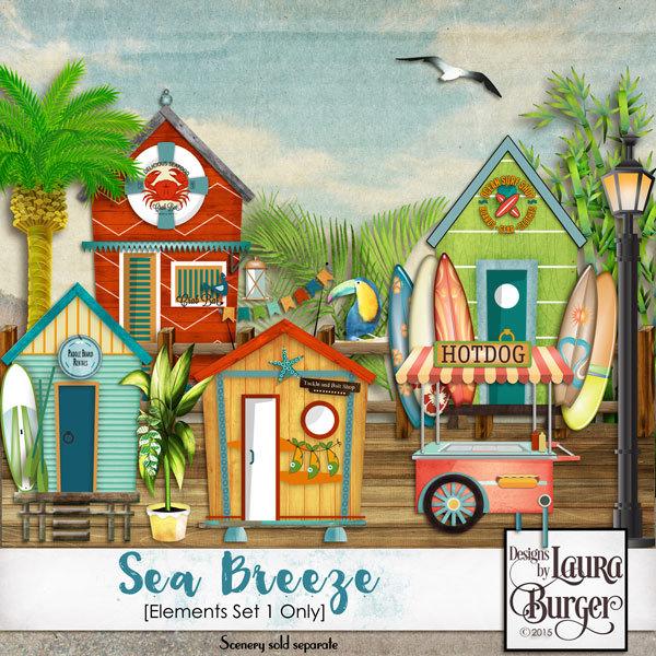 Sea Breeze Elements1 Digital Art - Digital Scrapbooking Kits