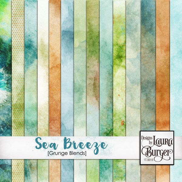 Sea Breeze Grunge Papers Digital Art - Digital Scrapbooking Kits