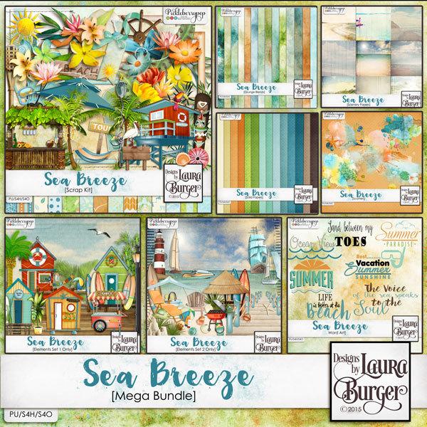 Sea Breeze Mega Bundle Digital Art - Digital Scrapbooking Kits