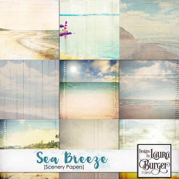 Sea Breeze Scenery Papers Digital Art - Digital Scrapbooking Kits