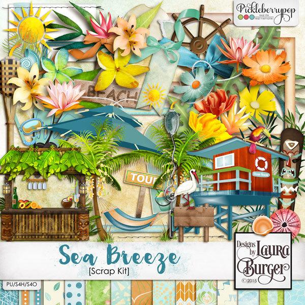 Sea Breeze Scrap Kit Digital Art - Digital Scrapbooking Kits