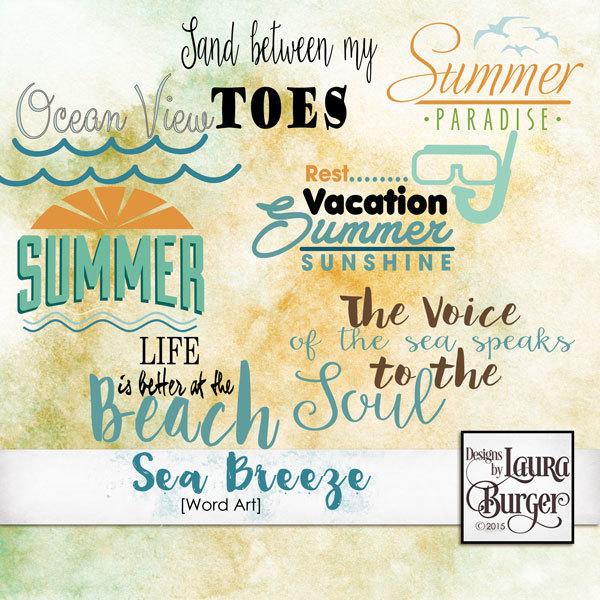 Sea Breeze Word Arts Digital Art - Digital Scrapbooking Kits
